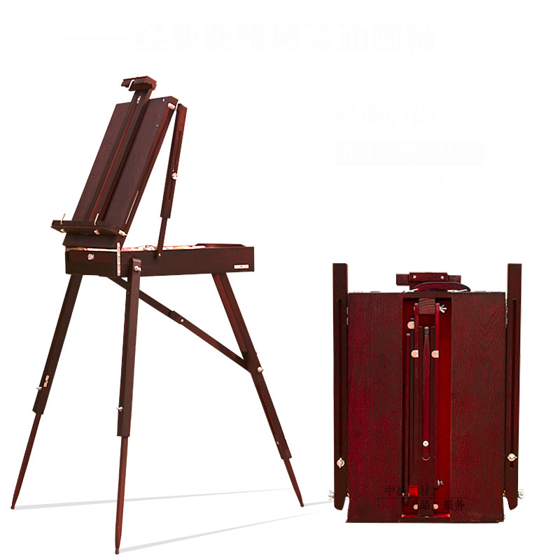 portable sketching easel for artists painting wood oil easel box with handle adjustable wooden artist tabletop box cavalete art - Tabletop Easel