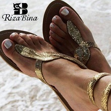 RizaBina Women Flats Sandals 2019 New Summer Snake Ankle Strap Gladiato