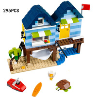 295PCS Hot Lepin Mini City Street View Beach Resort Surfing With Figure Building Blocks Compatible 31063