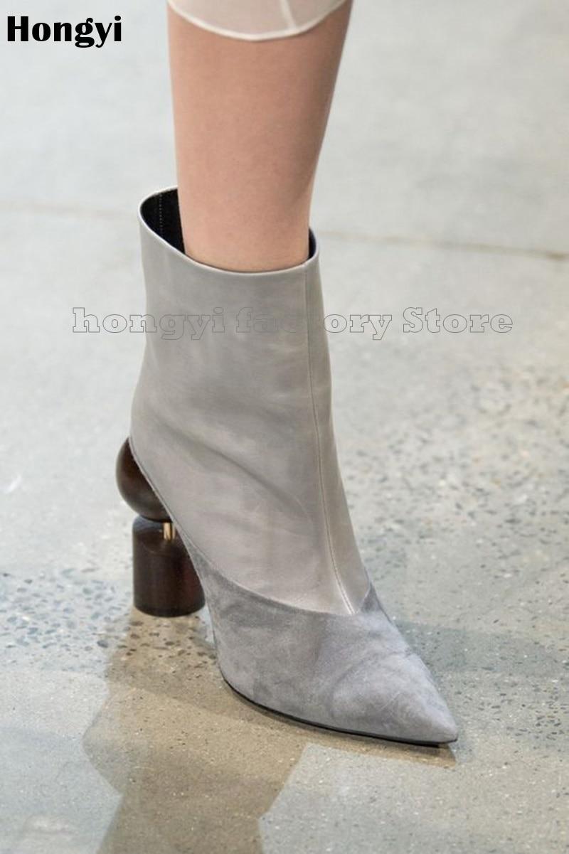 Здесь можно купить  Fashion Autumn Spring Real Leather Strange Heeled Ankle Boots Women Pointed Toe Fashion Show Boot Plus size 43  Обувь