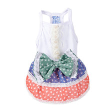 D68 New Sweety Summer Pet Dog dress Skirt Rural Style Puppy Dogs Cats Princess Bowknot Vest Dress Clothing for Yorkshire(China)