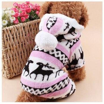 Cane di animale domestico Del Modello Del Vestito di Corallo Del Velluto Cervi Di Natale Cucciolo Vestiti di Autunno E di Inverno del Fiocco di Neve In Pile Morbido Chihuahua Cani Vestiti 1