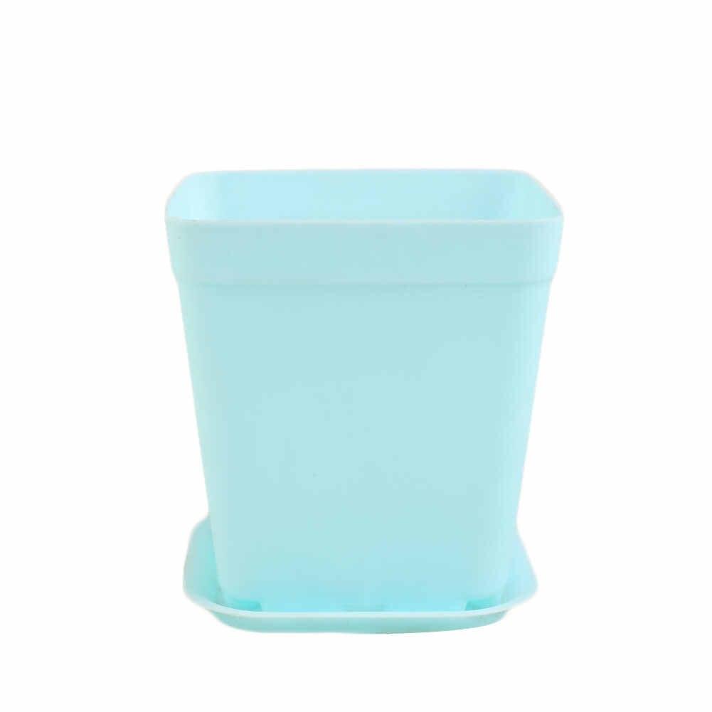 Mini Pot Bunga Plastik dengan Nampan Tanaman Pot Multi Daging Nursery Pot Taman Vertikal Bunga Bathtub Dekorasi Meja Vas macetas
