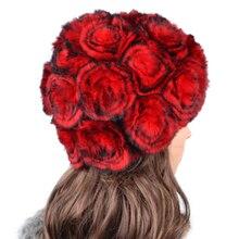 Бесплатная доставка 2017 рекс кролика волосы меховая шапка женская пряжи вязаная шапка тепловой роза полосы