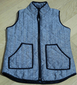 2016 womens fall fashion Herringbone Vest Designer Inspired Blue denim vest, Quilted Cotton Puffer Vest plus Size S-2XL News