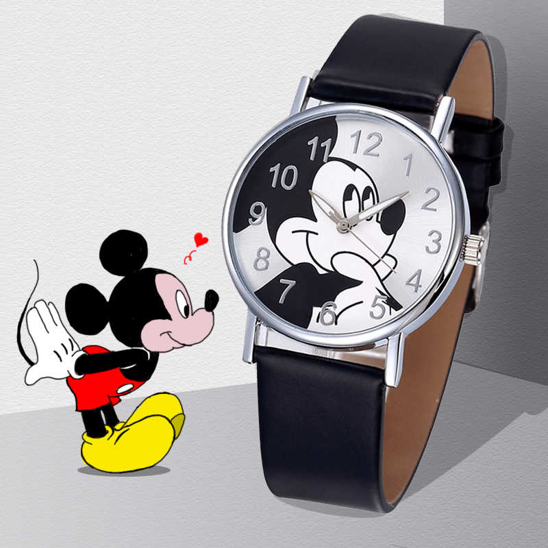 2019 Hot Girls Watch Carton Mouse Pattern Fashion Quartz Kids Watches Cartoon Casual Leather Clock Boys relógio infantil