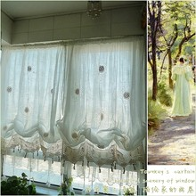 WINLIFE Pastoral Style Adjustable Balloon Curtain, Living Room Shade,white Window Treatment, Curtains for Windows