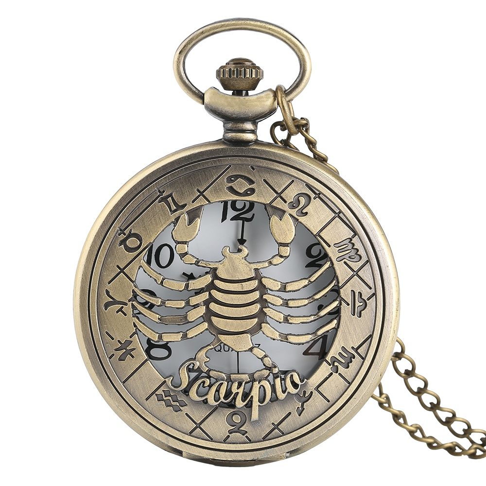 Mystic Scorpio Necklace Item For Women Men Scorpion Quartz Pocket Watches Pendnat Chain October November Birthday Xmas Gifts