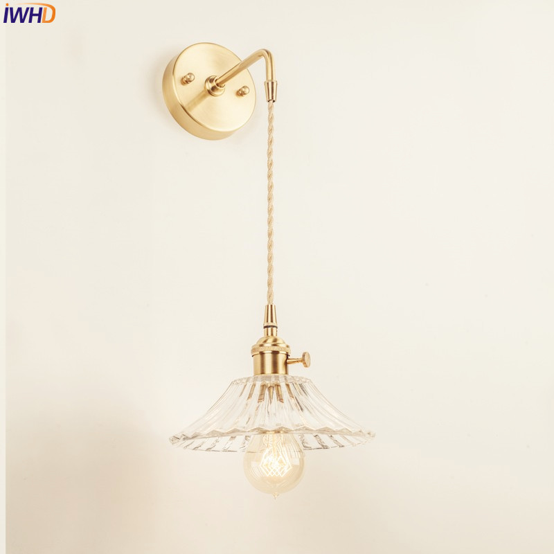 IWHD Nordic Glass Wall Light Fixtures Bedroom Bathroom Mirror Edison Copper Wall Lamp Sconce Vintage Home Lighting Wandlamp