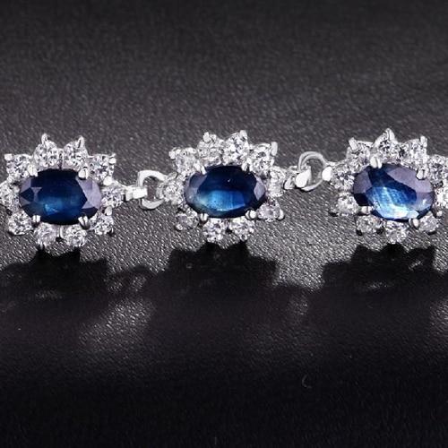 Qi Xuan_Fashion Jewelry_Free темно-синий камень роскошные женские Bracelets_S925 чистого серебра Bracelets_Factory прямые продажи