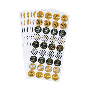 Image 1 - 6sheet 216pcs happy 30th 40th 50th birthday paper stickers cheer 30 40 50 years birthday sticker adult Anniversary party decor