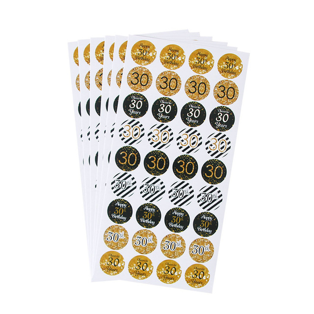 6sheet 216pcs happy 30th 40th 50th birthday paper stickers cheer 30 40 50 years birthday sticker adult Anniversary party decor