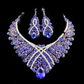 2017 african jewelry set wedding necklace women jewellery set gold plated necklace and drop earrings Blue colors jiayi jiaduo