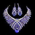 2017 conjunto de jóias de casamento africano colar conjunto de jóias mulheres banhado a ouro colar e brincos gota Azul cores jiayi jiaduo