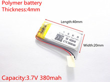 3.7V 380mAh 402040 Lithium Polymer Li-Po li ion Rechargeable Battery cells For Mp3 MP4 MP5 GPS PSP mobile bluetooth