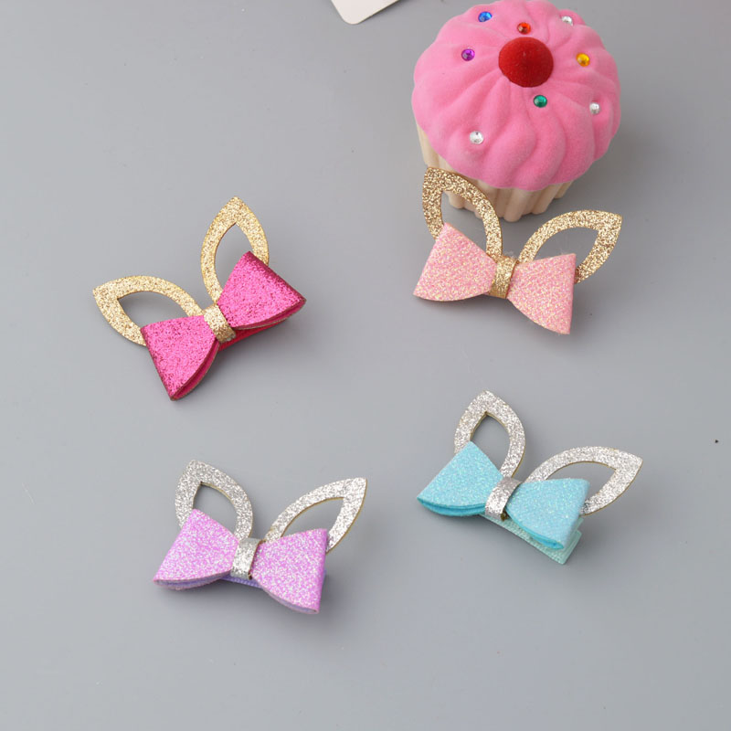 Sparking Bow Girl Cure Hair accessories High Quality Cat Ear Hair Clips for school girls Hair ornament Barrettes L25 new hair claw for women girl elegant high quality hair clip party decorations holiday gift accessories