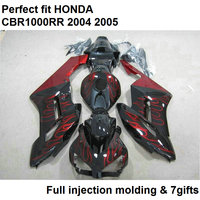 100% fit for Honda injection molding CBR1000RR 04 05 red flames black fairing kit CBR 1000RR 2004 2005 TY10