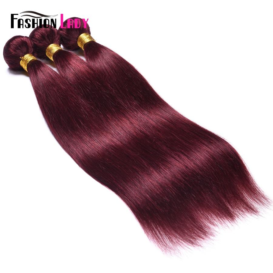 Image 4 - Fashion Lady Pre colored Red Brazilian Hair Weave Bundles Straight Hair Bundles 99j 1/3/4 Piece Per Pack Hair Extension Non remyHair Weaves   -