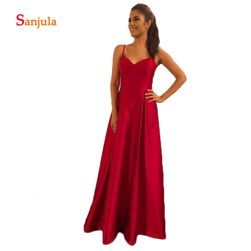 Hot Red Satin   Bridesmaid     Dresses   Sweetheart A-Line Long Prom Gowns for Girls Formal Party   Dresses   vestido invitada D238