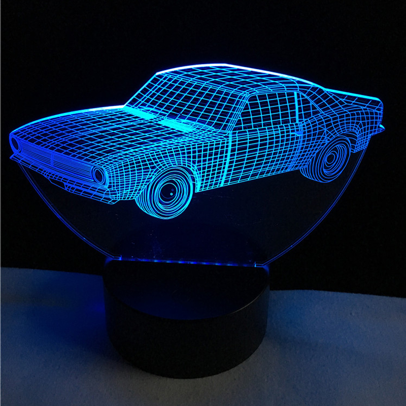 Hot SALE Cuba Retro Animation Cool Car 3D USB LED Lamp Car-Styling Colorful Cool Boy Gift Toys RGB Night Light Table Decoration hot sale adjustable retro london telephone booth night light usb battery dual use led bedside table lamp
