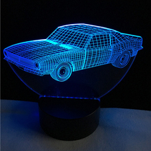Hot SALE Cuba Retro Animation Cool Car 3D USB LED Lamp Car-Styling Colorful Cool Boy Gift Toys RGB Night Light Table Decoration