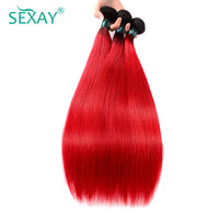 Sexay Pre Colored 4 Pcs Lot Ombre Hair Bundles Straight Human Hair Weave One Pack 2