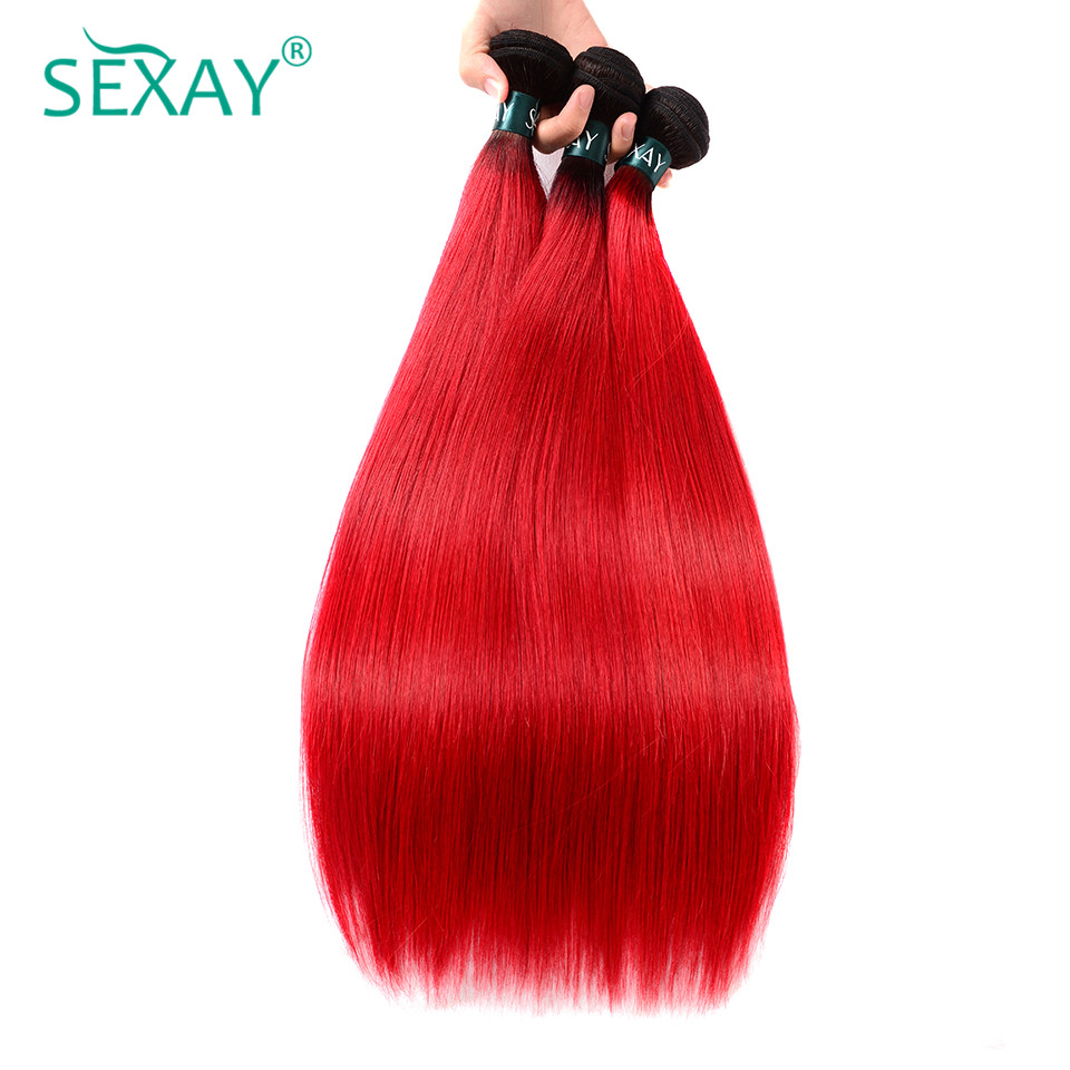 Sexay Pre-Colored 4 Pcs Lot Ombre Hair Bundles Straight Human Hair Weave One Pack 2 Tone Dark Roots T1B/Red Peruvian Human Hair