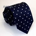 Free Shipping Pattern Dots Blue Navy White 100% Silk New Classic Mens Tie Jacquard Woven Necktie Wedding