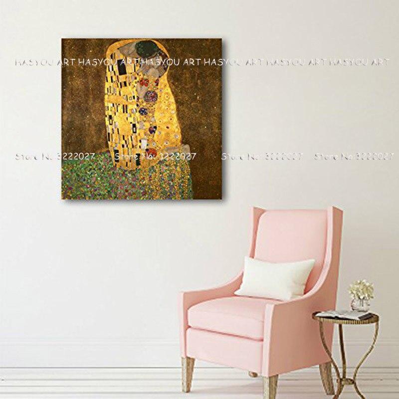 Leinwand Malerei Palette Klimt Kuss Liebe Gesicht öl malerei Poster wand kunst bilder für wohnzimmer wohnkultur caudros decoracion - 3