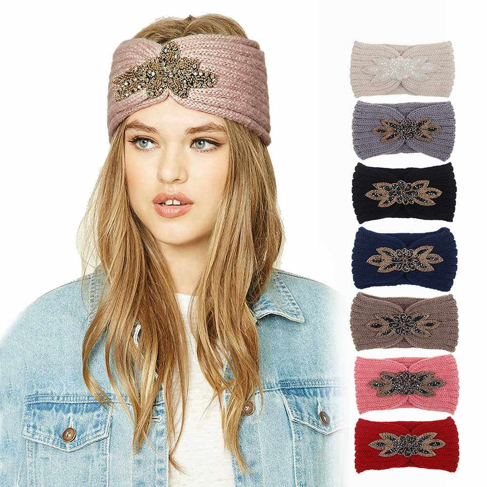 Solid Crochet Knitting Woolen Headbands Winter Women Bohemia Sequin Headbands Handmade Hairbands Bandeau Cheveux