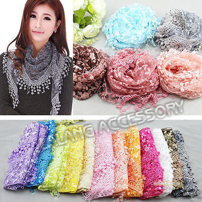 12 Colors 2017 Fashion Scarf Women Lace Hollow Tassel Long Scarves Wrap Shawl Stole Soft Triangular Thin Scarf 140cm DP671078