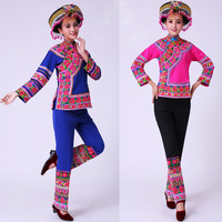 Женская Одежда для танцев Древний Традиционный китайский танцевальные костюмы хмонг сценические Костюмы для народных китайских танцев пл