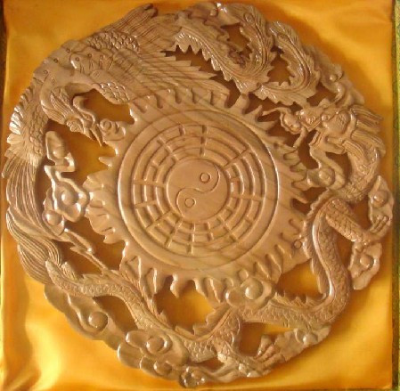 Long Yi mahogany dragon mirror mirror gossip Phoenix carving Pendant Home Furnishing 2060054