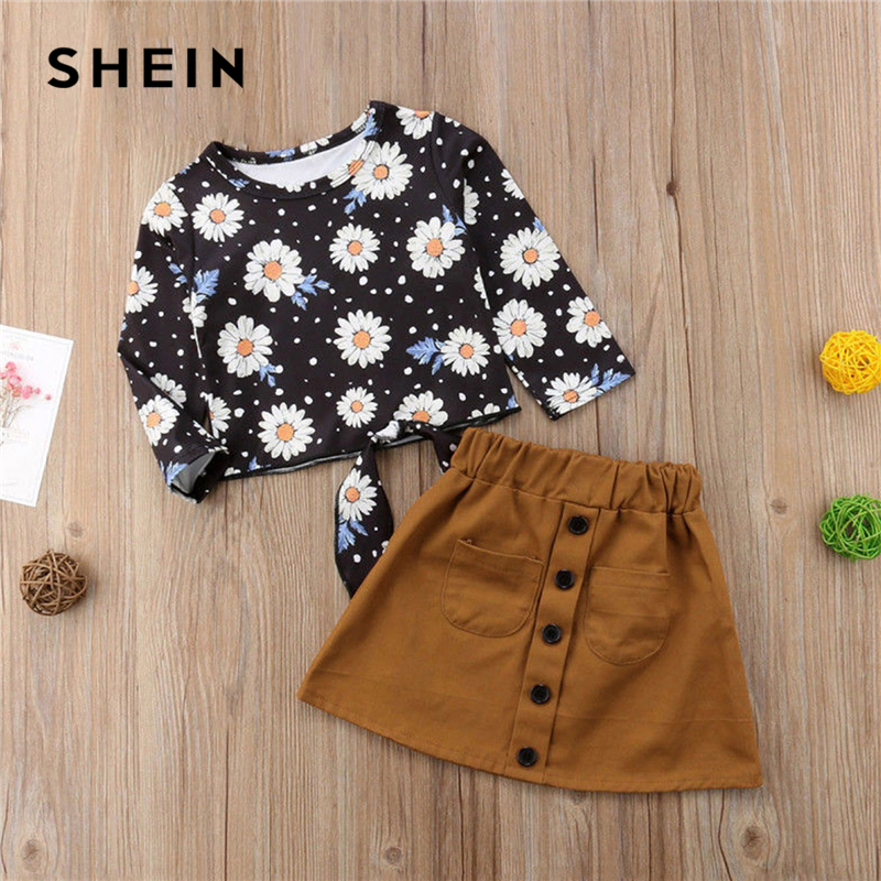 SHEIN Kiddie Knot Floral Print Elegant Top With Skirt Suit For Girls Cothing 2019 Korean Long Sleeve Kids Clothes Girl Set floral print swing dress