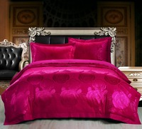 19 Color Designs luxury Silk/Cotton Satin Jacquard Rose red Bedding Set Duvet Cover Bed Linen Bed sheet Pillowcases Bedclothes