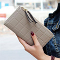 New brand Candy Colors Purse Plaid Zipper Wallet Leather carteira couro Cards Holder For Girls Women Wallet 2016 Gift 1pcs