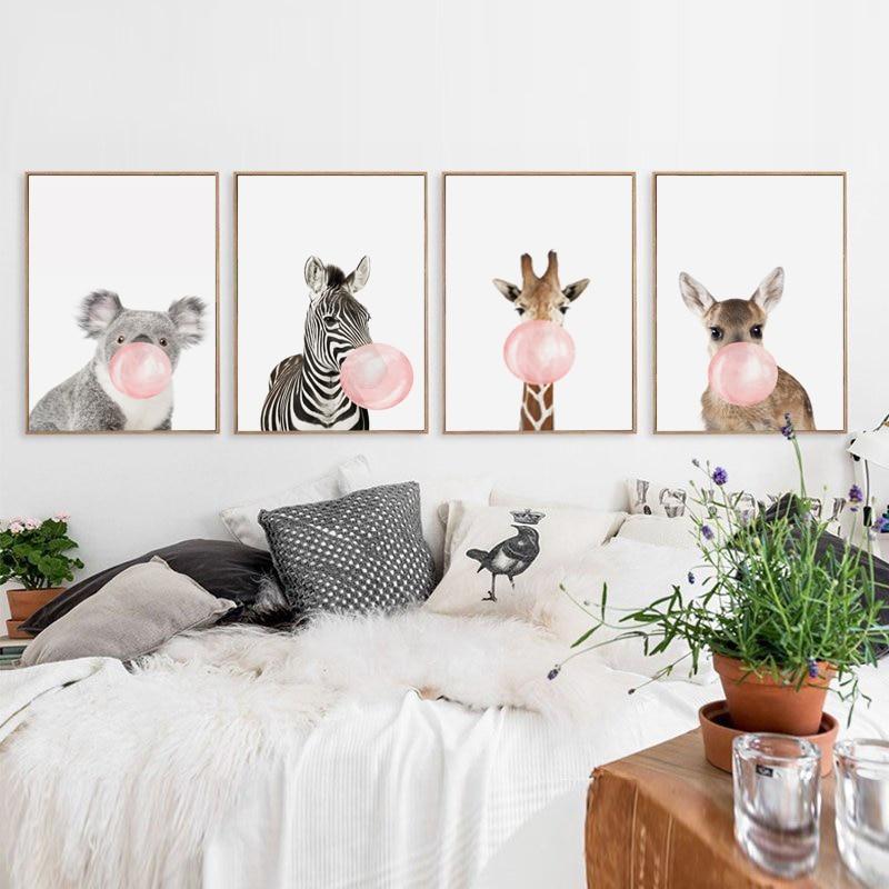 HTB1ybDBm1SSBuNjy0Flq6zBpVXao Bubble Chewing Gum Giraffe Zebra Animal Posters Canvas Art Painting Wall Art Nursery Decorative Picture Nordic Style Kids Deco