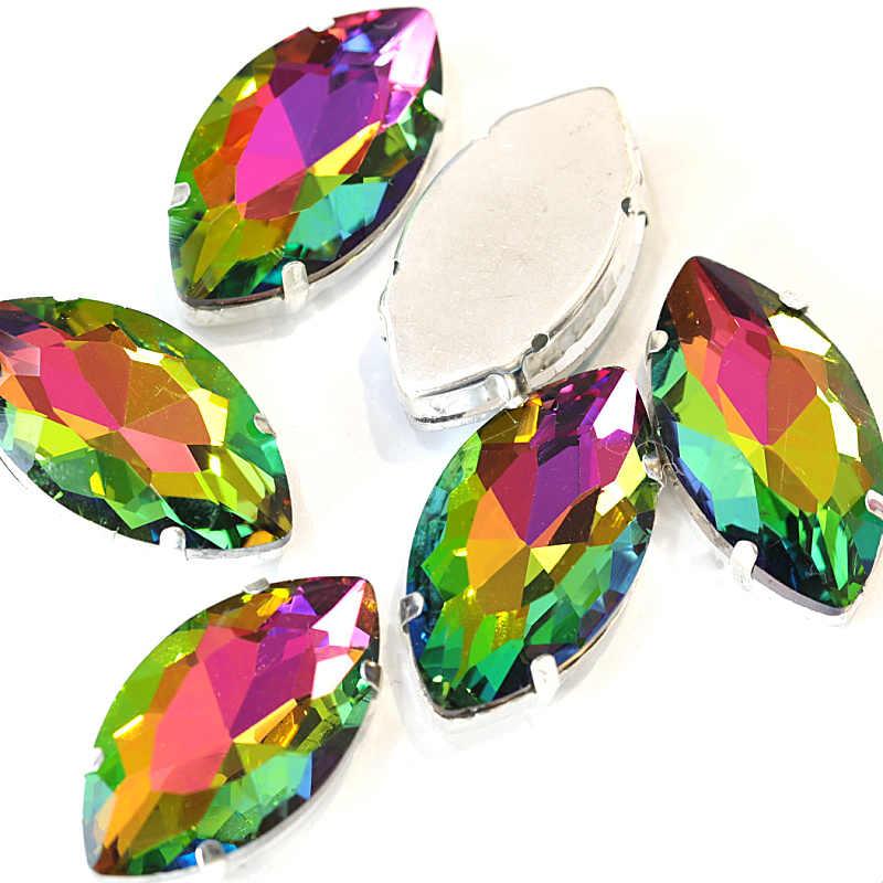 Alta qualidade agradável folha de cristal de vidro costurar em strass prata garra definir marquise costurar na garra strass vestido de casamento b1259