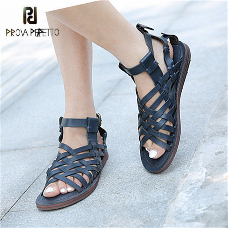 Prova Perfetto Retro Weave Summer Sandals Hollow Out Women Gladiator Sandal Flat Beach Shoes Woman Sandalias Mujer Ladies Shoes italian classic mens summer gladiator beach sandals ankle buckle weave hollow out cow real leather shoes large size casual shoes