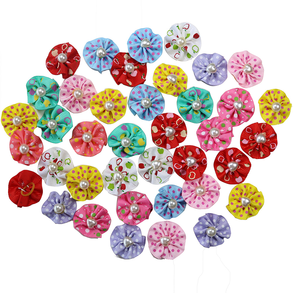 100PCS Pairs Pet Dog Hair Bows Rubber Bands With Pearl Floret Rounded Pet Dog Hair Bows Accessories Grooming Products Cute Gift