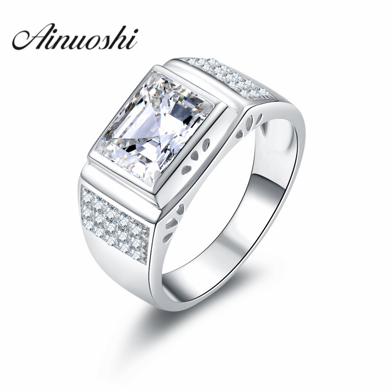 AINOUSHI Luxury 3ct Rectangle High Quality Men Ring Pure 925 Solid Sterling Silver SONA Hot Engagement