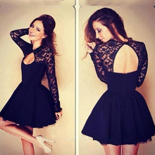 Jewel A-linie Black Lace Long Sleeves Homecoming Kleider 2016 Appliques High Neck Backless Short Mini Ballkleider Cocktailkleider