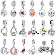 81bbc8bb4 2018 sumnew free shipping 1pc love sports lucky ribbon hanging dangle bead  Fits European Pandora Charm