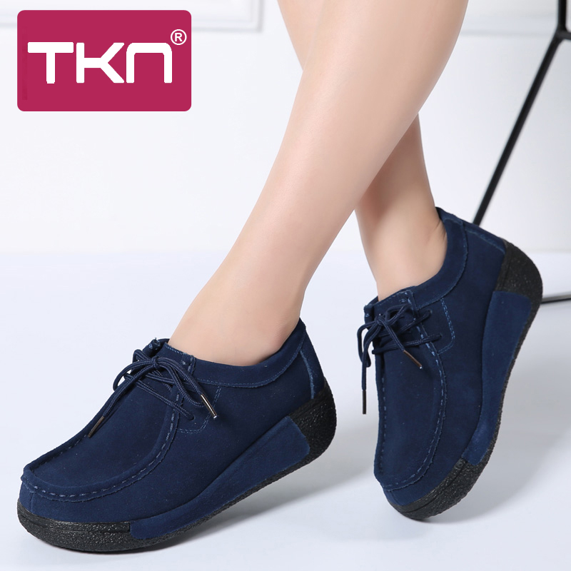 TKN 2019 Spring Women Platform Sneakers Ladies Casual Shoes   Leather     Suede   Lace Up Platform Shoes Woman Flats Moccasins 3582