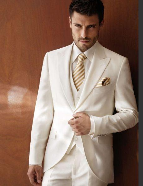 White Ivory Wedding Suits For Men Tuxedos Peaked Lapel