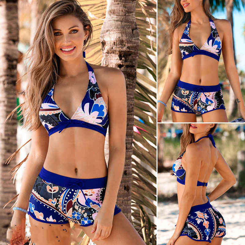 2020 бразильский Mujer сексуальное бикини Цветочный Холтер Купальник с открытой спиной пуш ап купальник синий бикини пляжная одежда бикини сексуальные женщины Купальники        АлиЭкспресс