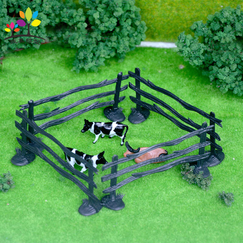 10 Pieces Original Farm Animal Fence Stable Transfer Fence Model DIY Building Sand Table Toy