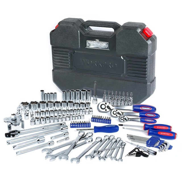 WORKPRO 123PC Tool Set Hand Tools for Car Repair Ratchet Spanner Wrench Set Socket Set Mechanic Tools  1