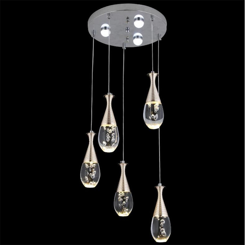 Modern Fashion Creative Waterdrop Acryl Led 5 Heads Pendant Light For Dining Room Living Room Decor Lamps AC 80-265V 1465