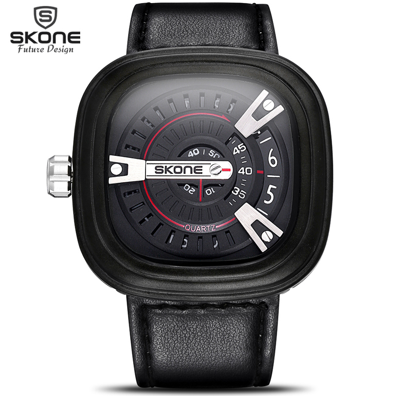 SKONE 2016 Designer Big Face Square Dial Men Watches @